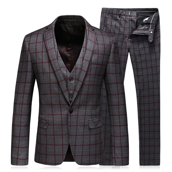 Men's Plaid 3 Piece Suit