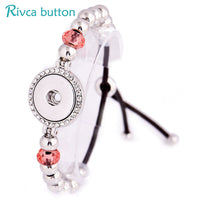 Metal Snap Button Charms Black Leather Bracelets For Women - Dada Stores