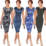 Women Bandage Bodycon Sketch Polka Dot Stars Short Sleeve Dress - Dada Stores