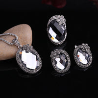 Flower And Gray Crystal Pendant Necklace Earrings Ring Women Jewelry Set - Dada Stores