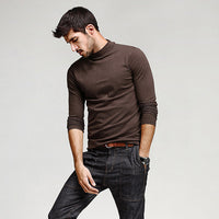 5 Solid Color  Men's Long Sleeve Slim T-Shirts - Dada Stores