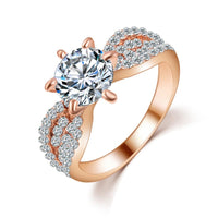 17KM Romantic Wedding Crystal Rings Rose Gold Color - Dada Stores