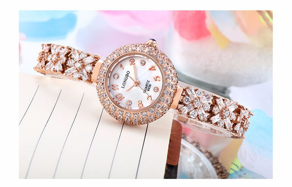 Zircon Diamond Gold  Bracelet 30m Waterproof Ladies Wrist Watches - Dada Stores