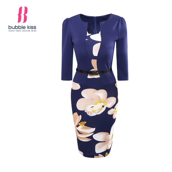 Women Bodycon Office Patchwork Fake Two Piece Belt Floral Print Pencil Dresses - Dada Stores