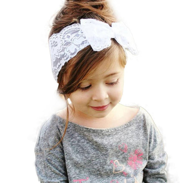New Fashion Girls Lace Big Bow Hair Band  Head Wrap Band Accessories - Dada Stores