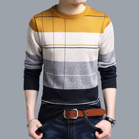 Casual crocheted striped knitted sweater - Dada Stores