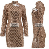 Long Sleeve Sequins  Sexy Bodycon Sheath Gold Pattern High Neck Party Dresses - Dada Stores