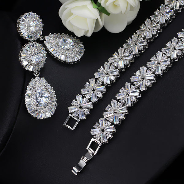 Luxury Cubic Zirconia Necklace Earring Bracelet Party Jewelry Set For Women - Dada Stores