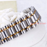 16mm Silver Gold Stainless Steel Strap Bracelet With Folding Clasp - Dada Stores