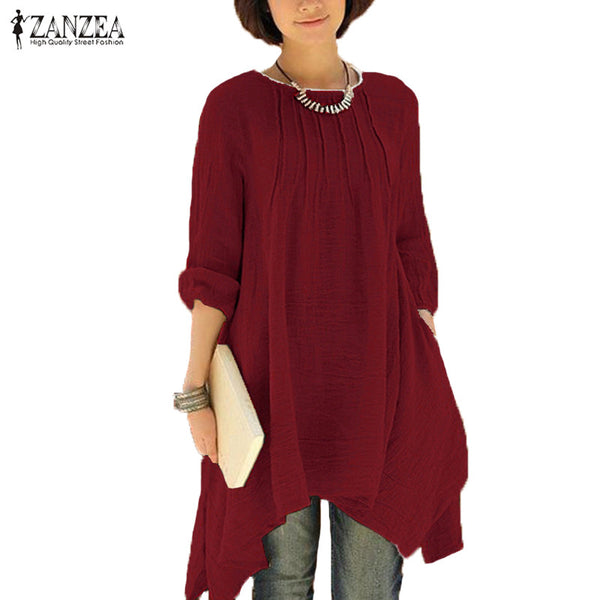 Women Vintage O-Neck Long Sleeve Pleated Asymmetric Hem - Dada Stores