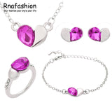 Austria Crystal Heart Shape Jewelry Sets Silver Plated For Women - Dada Stores