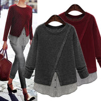 Crew Neck Knitted Long Sleeve Casual Patchwork Loose Pullover Sweater - Dada Stores