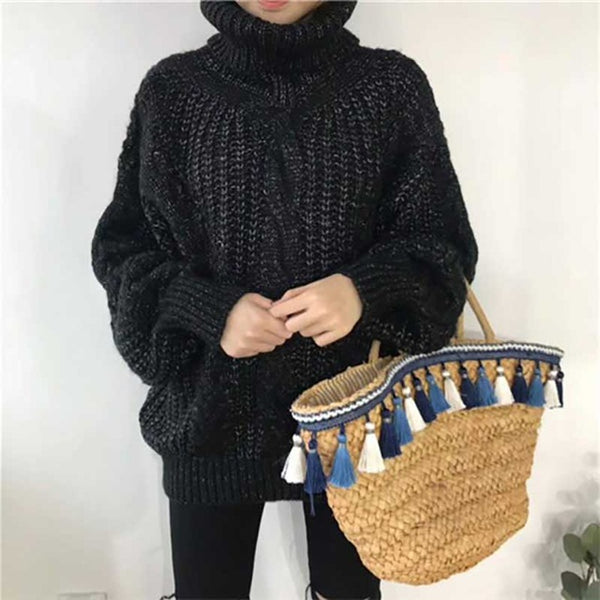 Women's Winter High collar Pullover Sweater coarse lines - Dada Stores