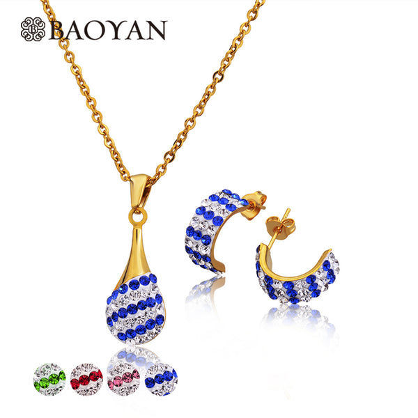 316L Stainless Steel Crystal Necklace and Earring Gold Color Jewellery - Dada Stores