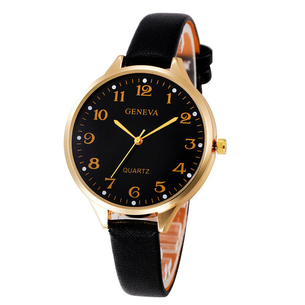 Crystal Women Casual Checkers Faux Leather Quartz Analog Wrist Watch - Dada Stores