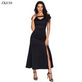 Women Cold Shoulder Front Slit Flare Maxi Dress - Dada Stores