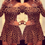 Sexy Off Shoulder Long Sleeve Leopard Cocktail Party Bodycon Dress - Dada Stores