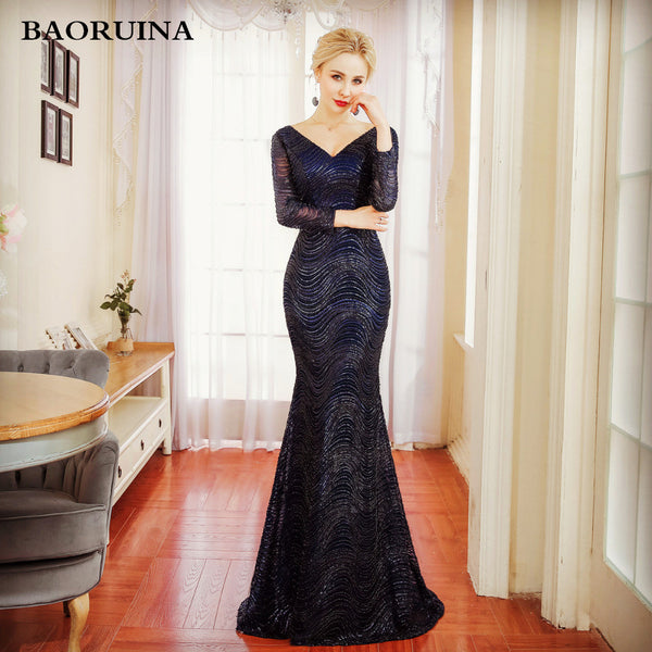 Long Sleeve Evening Sequins Navy Blue Mermaid Party Gown - Dada Stores