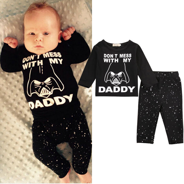 Newborn Baby Boy Star Wars Long Sleeve Cotton Tops T-shirt+Long Pants  2pcs Outfit Set - Dada Stores