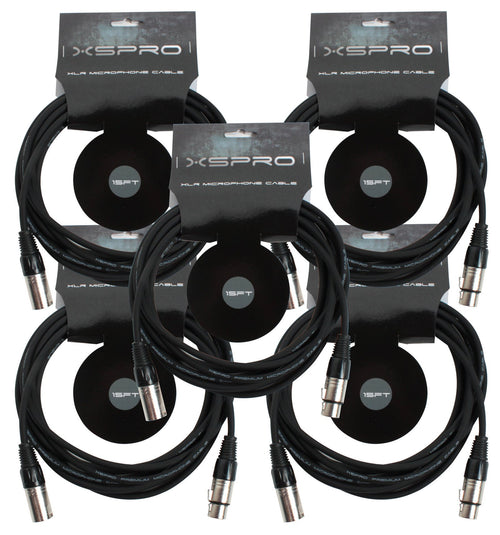 XSPRO XSM-15 5 Pack 15' Ft Foot Shielded Audio XLR Mic Microphone Cable