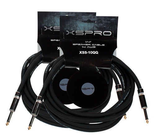 "XSPRO 10' 14 AWG 1/4"" to 1/4"" Speaker Cable-2 PAK"