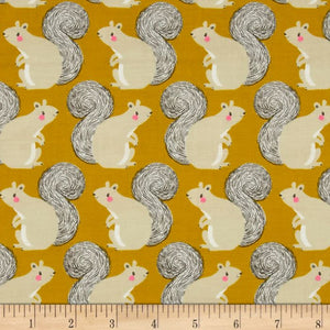 Cotton + Steel Fabric - Magic Forest - Squirrels Pigment Dyed Neon Yellow