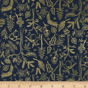 Cotton + Steel Fabric - Rifle Paper Co - Metallic Amalfi Black Forest Navy Fabric