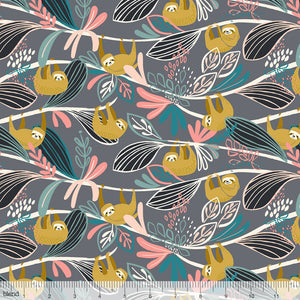 Blend Fabrics - Rainforest Slumber - Lazy Sloth Pink
