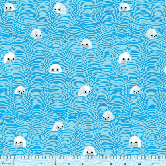 Blend Fabrics - Arctic Playground - Sea of Seals Aqua CLEARANCE