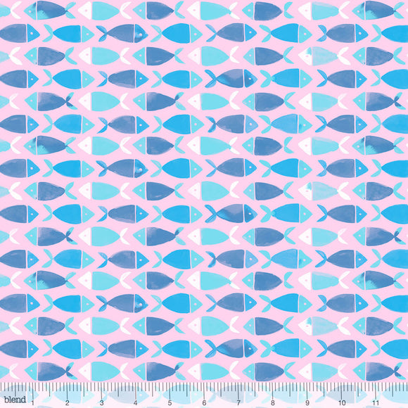 Blend Fabrics - Arctic Playground - Fish School Pink CLEARANCE