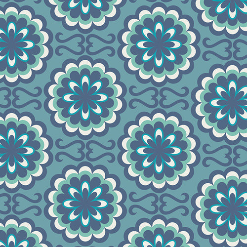 Art Gallery Fabric - Pat Bravo - CHromatics - Fancy Buttons Blue