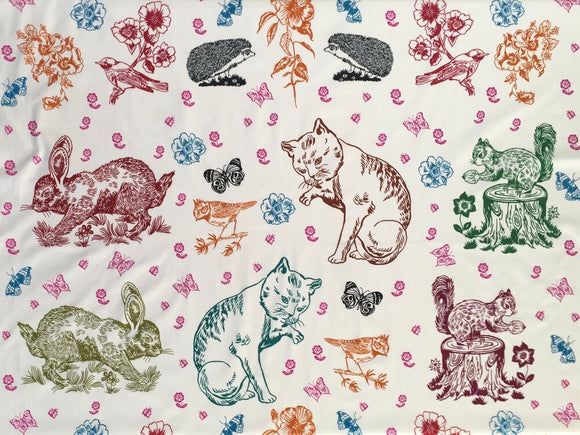 Freespirit Fabric - Nathalie Lete - Anna Maria Horner Conservatory - Woodland Walk - Mitzi and Friends PANEL