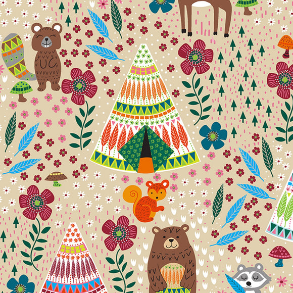 Timeless Treasures - Dream Away - Forest Animals Latte