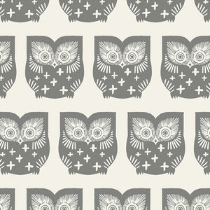 Art Gallery Fabric - Heartland - Hus Hoot in Gra CLEARANCE