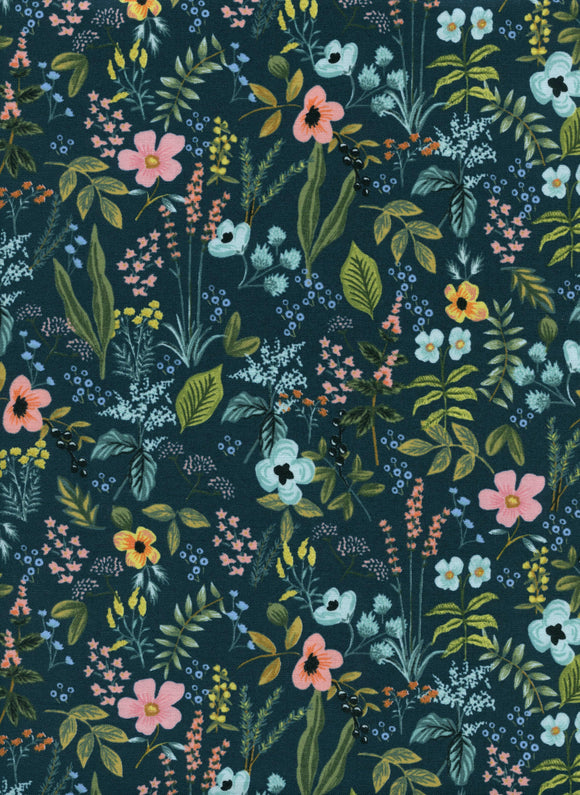Cotton + Steel Fabric - Rifle Paper Co - Herb Garden Navy