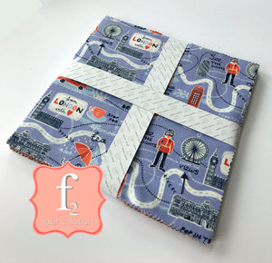 From London With Love 10 Inch Squares Charm Pack - 42 Pieces - Vicky Yorke - Camelot Fabrics