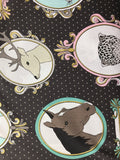 Michael Miller Fabrics - Little Animal Portraits  - Gold Metallic