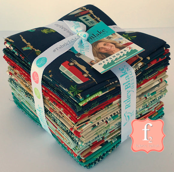 Riley Blake Fabrics - Offshore 2 - Fat Quarter Fabric Bundle 21pcs
