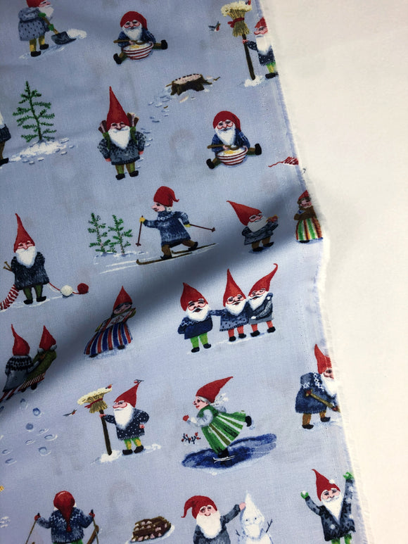 Windham Fabric - Striped Pear Studio - Winter Gnomes Frosty Blue - GOT Certified Organic