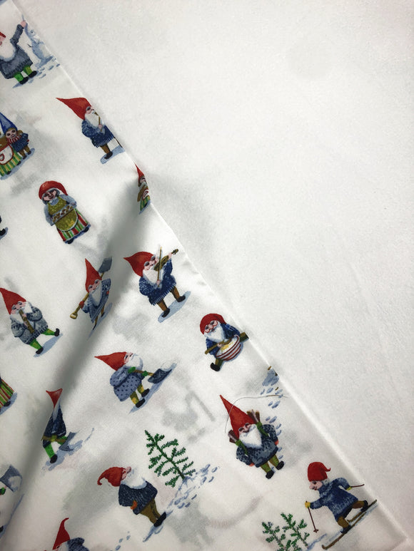 Windham Fabric - Striped Pear Studio - Winter Gnomes Snow White - GOT Certified Organic