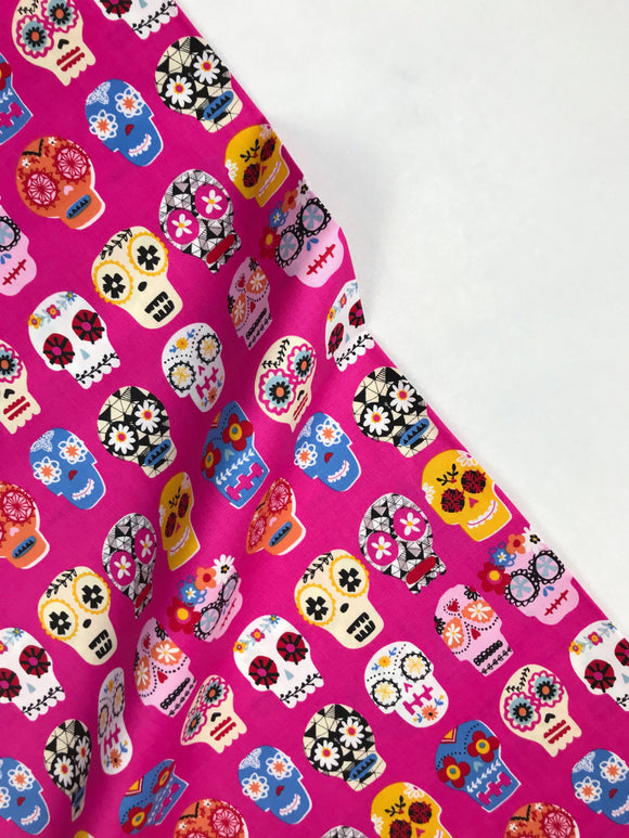 Dashwood Studio - Fiesta - Stephanie Thannhauser - Candy Skulls Pink - Quilters Cotton