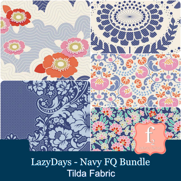 Tilda Fabrics - LazyDays - Blue Fat Quarter Bundle