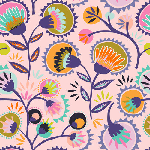 Art Gallery Fabric - Jessica Swift - Oh, Meow - Kattaland Flora