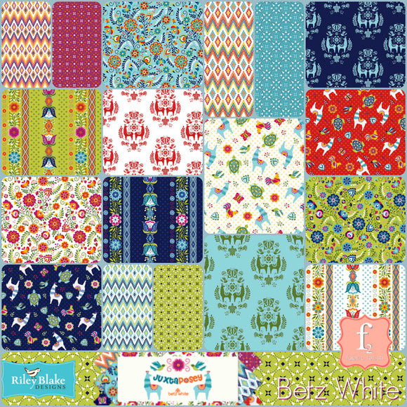 Juxta Posey 5 Inch Charm Pack Bundle Stacker - 42 Piece COMPLETE - Betz White - Riley Blake Fabrics