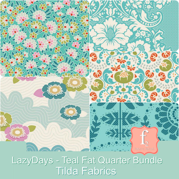 Tilda Fabrics - LazyDays - Teal Fat Quarter Bundle