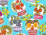 Alexander Henry Fabrics -  Folklorico - Calaveras Turquoise Glitter Metallic Clearance