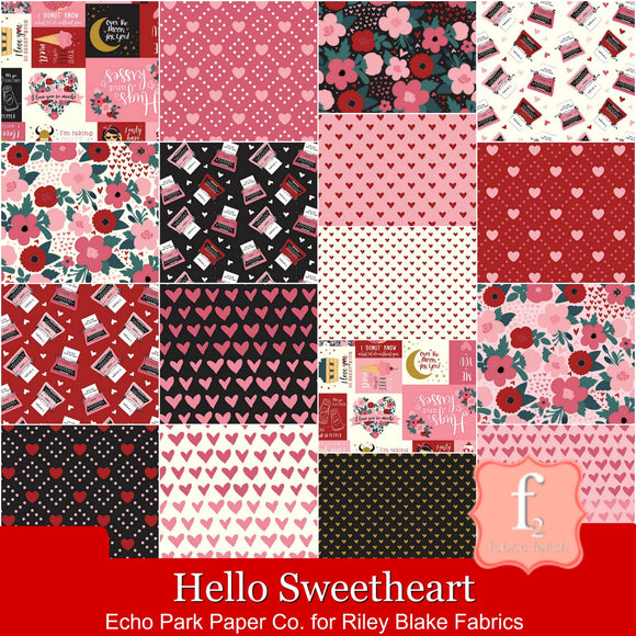 Riley Blake Fabrics - Hello Sweetheart - Fat Quarter Fabric Bundle 17pcs