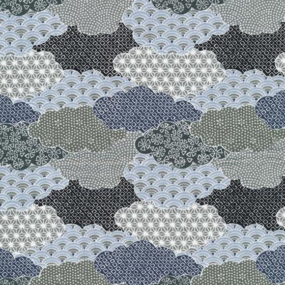 Paintbrush Studio Fabric - Teresa Chan - Moon Rabbit - Clouds Black