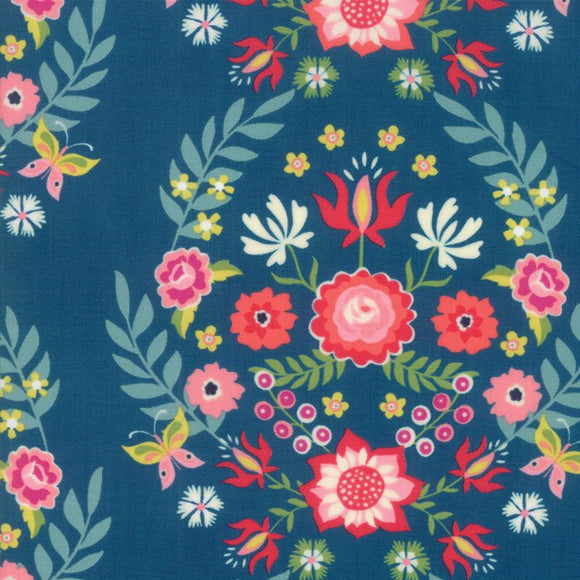 Moda - Rosa - Floral Prussian Blue