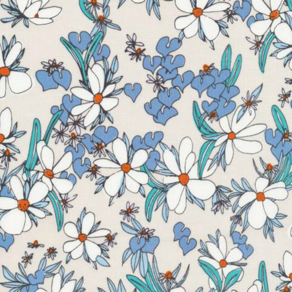 Cloud 9 Organic - Terrestrial - Magnolia Springs Khaki Blue Fabric